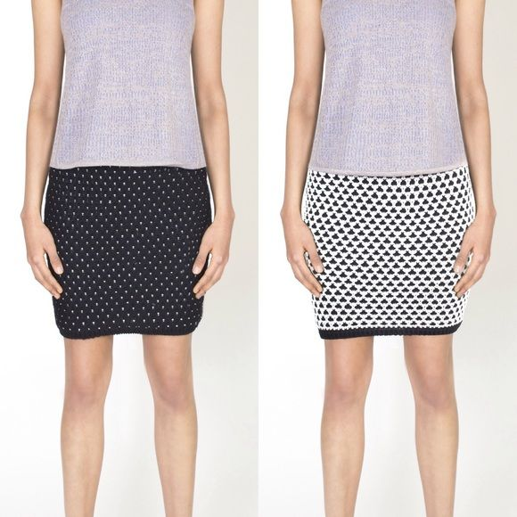 """NWT Reversible Emily Keller Cotton Chunky Skirt 68% Cotton 32% Nylon. This is a reversible skirt. 1 side is black and white with a diamond pattern, the other is mostly black with small white dots. Very warm and  thick. Chunky knit fabric. Great for winter as a holiday skirt! Length is 18"""". Waist is 25"""" around. Fits someone best with a 26-28"""" waist. Hip is 35"""" around and stretches. Emily Keller Skirts Pencil"""