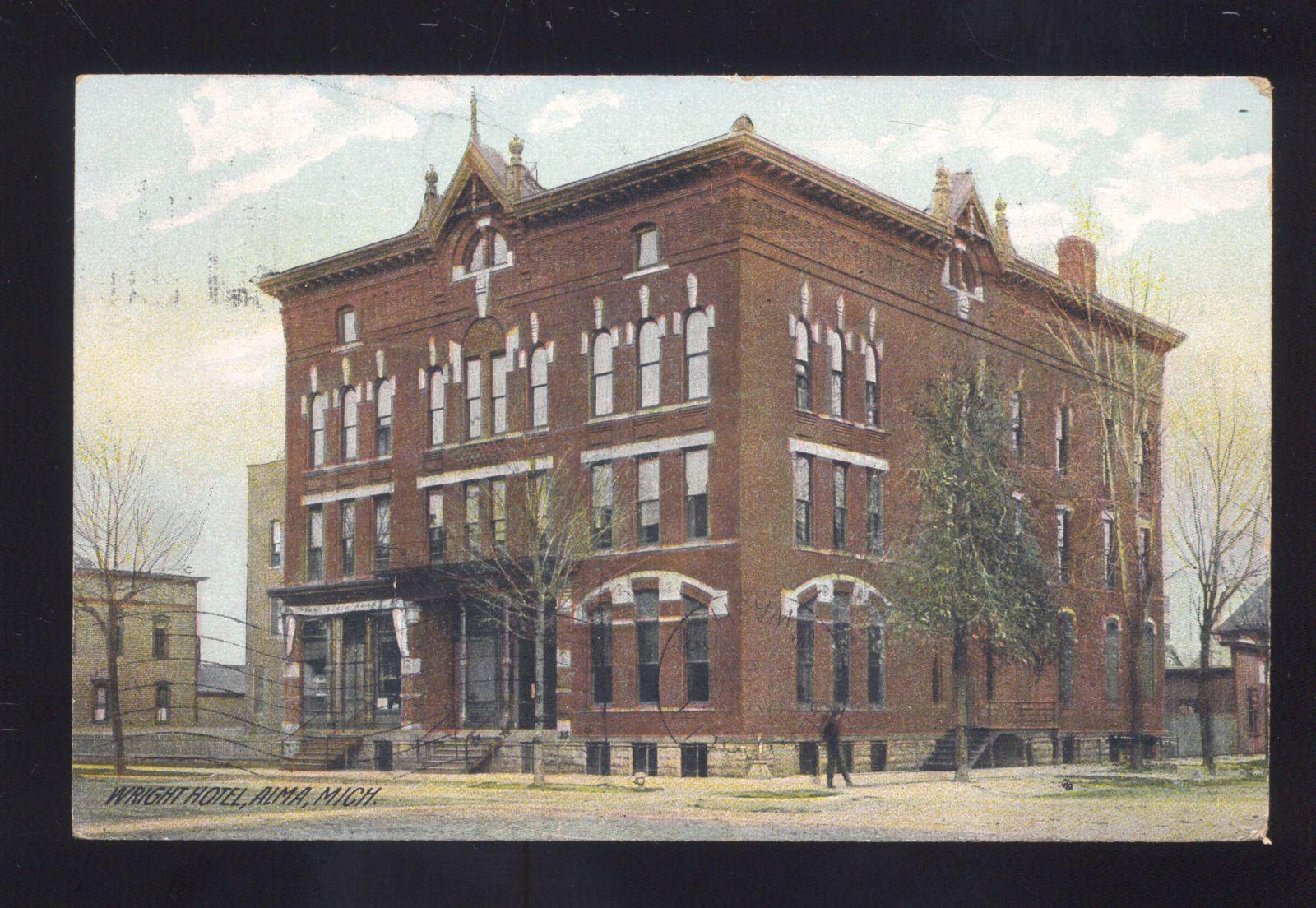 Alma Michigan Wright Hotel Vuilding Antique Vintage Postcard Centralia Wa