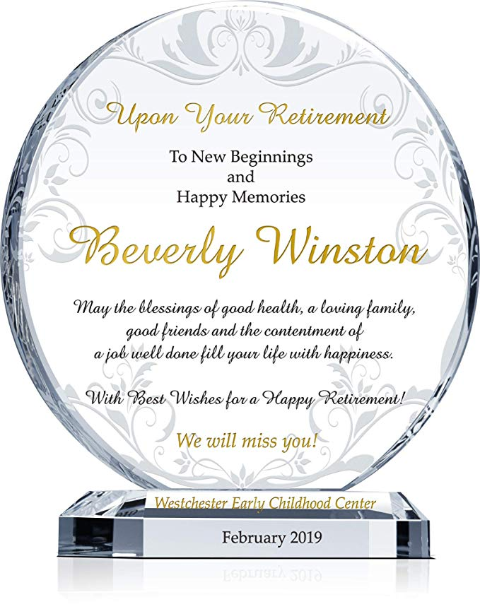 Amazon Com Personalized Crystal Circle Employee Retirement Gift Plaque For Man Or Woman Cu Retirement Gifts Employee Recognition Awards Military Appreciation
