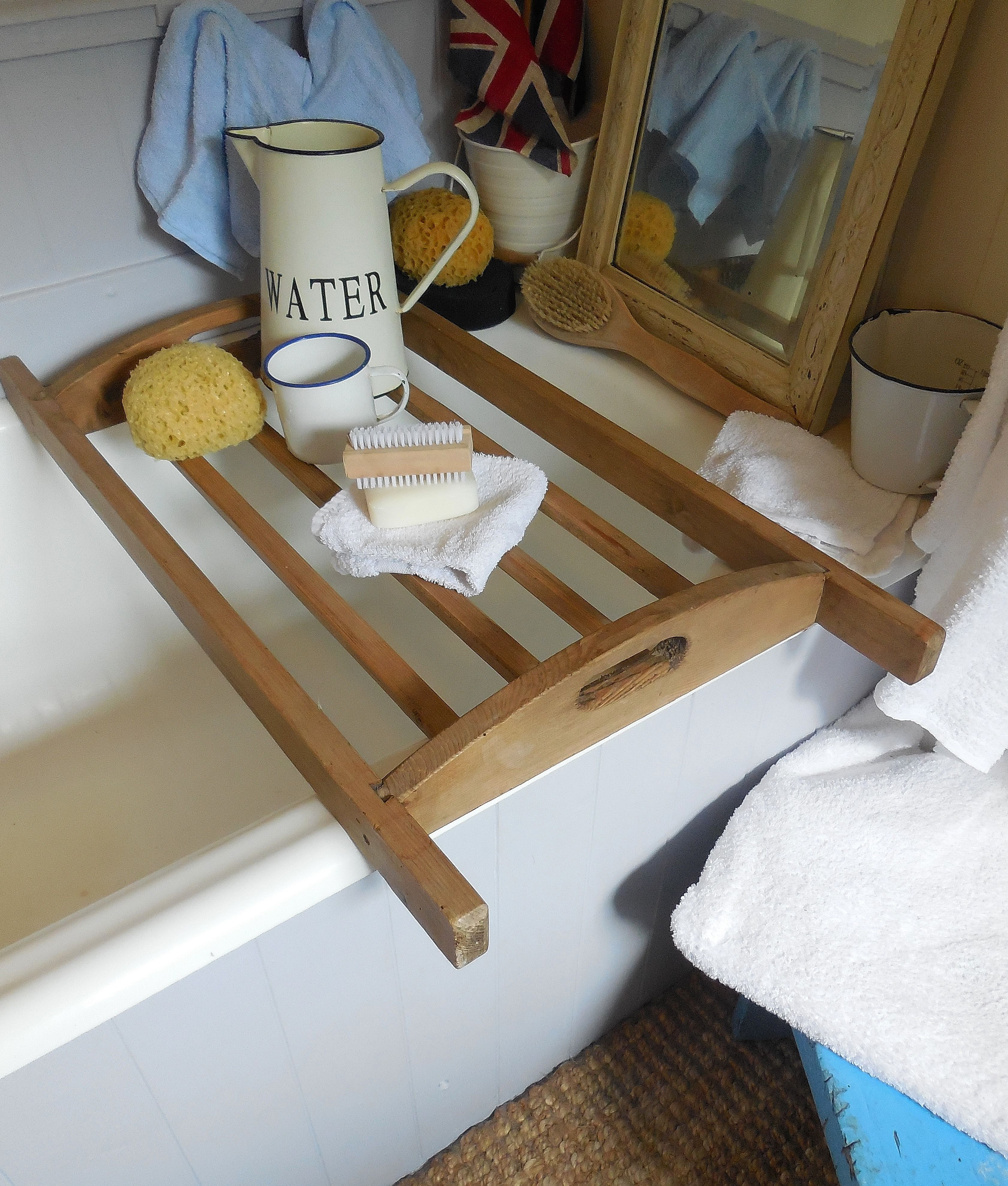 Old wooden bakers try used as bath rack. Available from Lavender ...