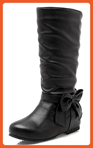Women's Sweet Bow Slouchy Mid Wedge Heels Hidden Inside Mid Calf Riding Booties