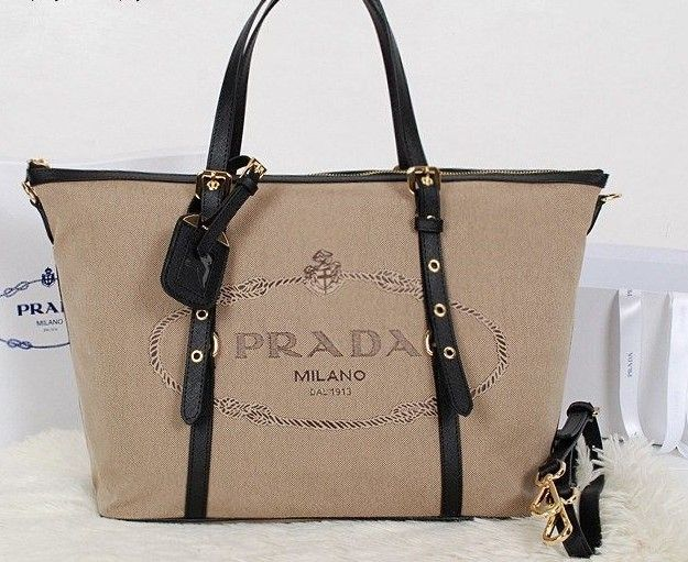 ce80208c452b 2014 Latest Prada Jacquard Nylon Fabric Tote Bag black