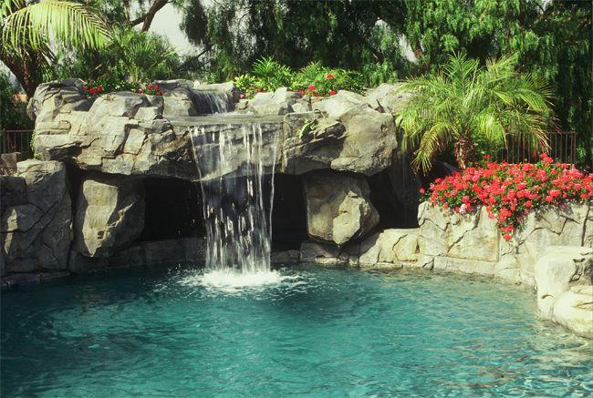Rock Pool With Cave And Planters Lagoon Pool Backyard Pool Rock Waterfall