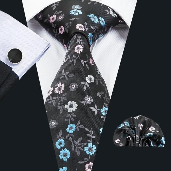 5ff88b082a1a Awesome Grey Floral Tie Pocket Square Cufflinks Set in 2019 | FLORAL ...