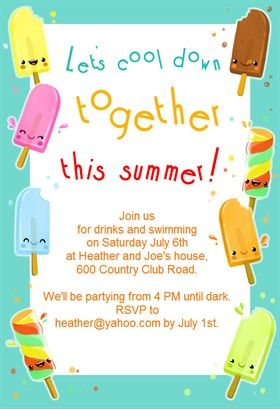 Ice Cream Party Free Printable Invitation Ice Cream Party Invitations Birthday Party Invitations Free Ice Cream Social Invitations