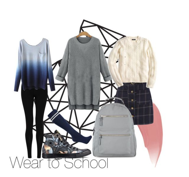 """""""School Outfits- Fall and Winter"""" by the-girl-who-fell-from-the-sky ❤ liked on Polyvore featuring M&S Collection, Converse, John Lewis, Burberry, J.Crew and Accessorize"""