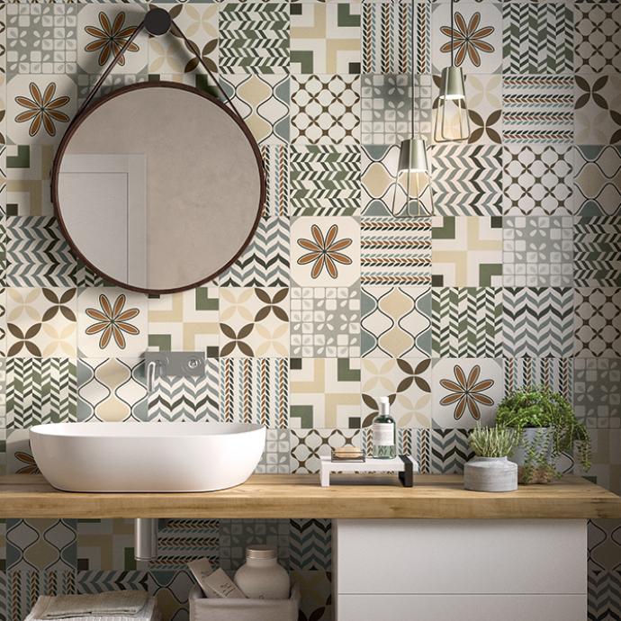 Ispirazione bagno pavimento gres muro con maioliche for Maioliche bagno