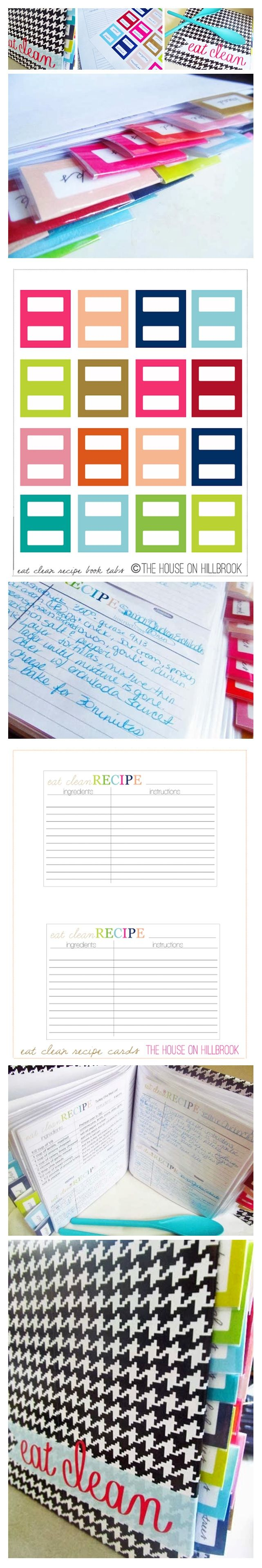 free printable tabs and recipe cards click for more free organizing