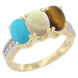 14K Yellow Gold Natural Turquoise, Opal