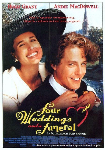 Four Weddings And A Funeral Starring Hugh Grant Andie MacDowell James Fleet