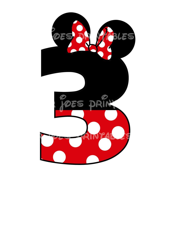 Minnie Mouse Age Birthday Number Diy Iron On Printable Disney