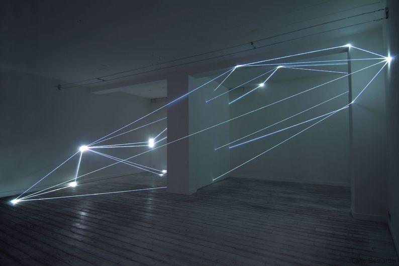 21 carlo bernardini codice spaziale 2009 fibre ottiche mt h 360x850x6 grossetti arte contemporanea milano Fiber Optic Installations by Carlo Bernardini