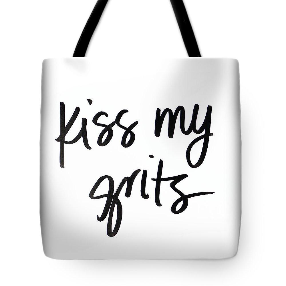 Kiss My Grits Tote Bag By Sd Graphics Studio Poly Poplin Fabric Multiple Sizes Available Ships Within 2 3 Business Days