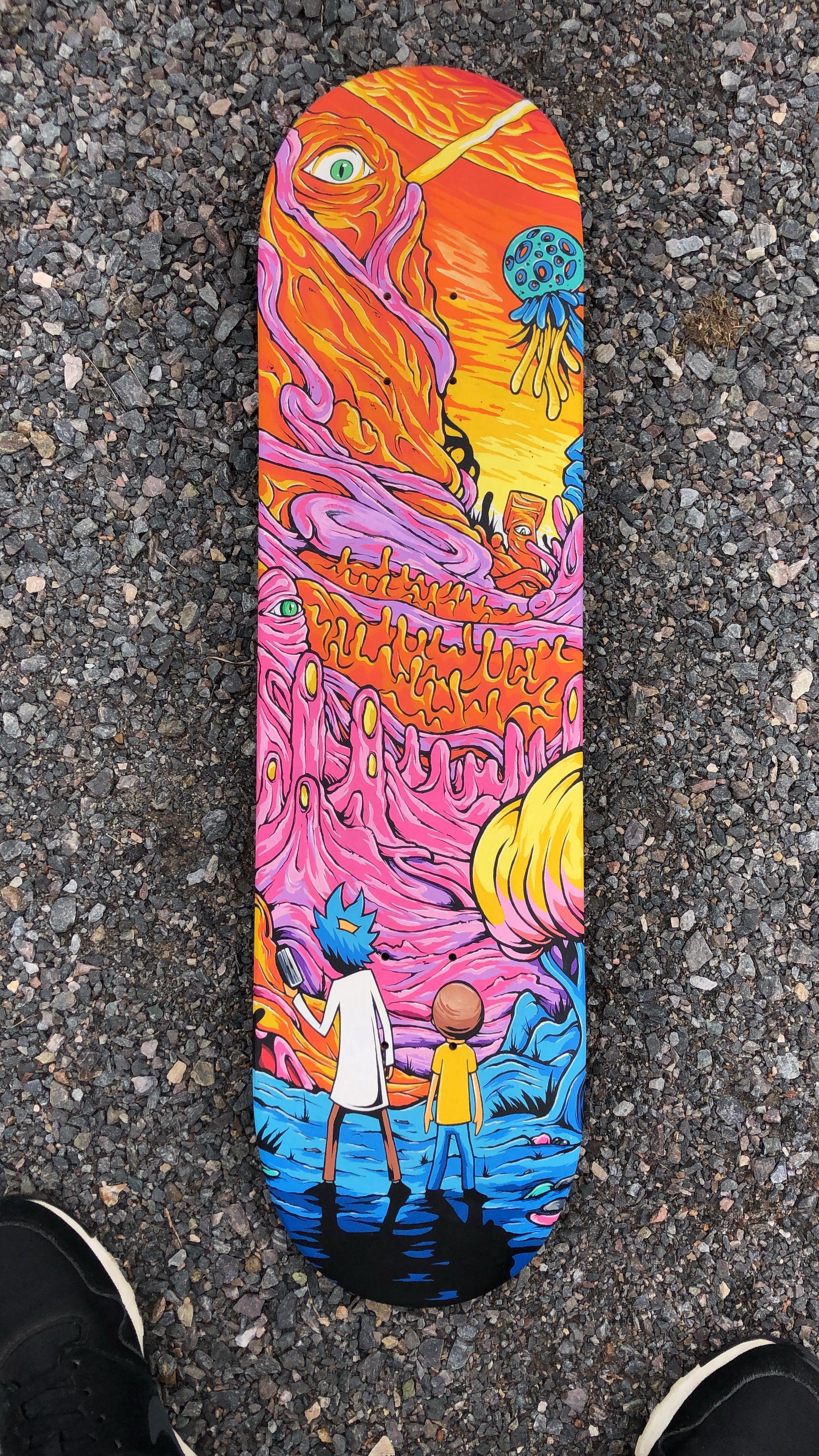 Custom Skateboard I Made Months Ago Rickandmorty Rick Picklerick Morty Wubbalubbadubdub Ge Skateboard Art Design Skateboard Deck Art Custom Skateboards