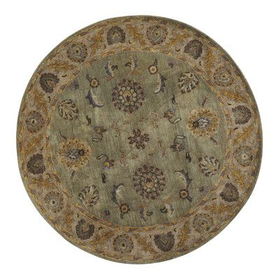 """Dynamic Rugs Charisma Beige / Green Area Rug Rug Size: Round 7'10"""""""