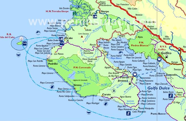 osa costa rica map Osa Peninsula Map Map Costa Rica Peninsula osa costa rica map