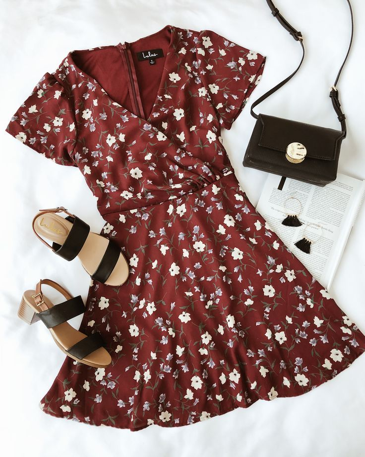 Dolly Burgundy Floral Print Short Sleeve Surplice Dress #dollies