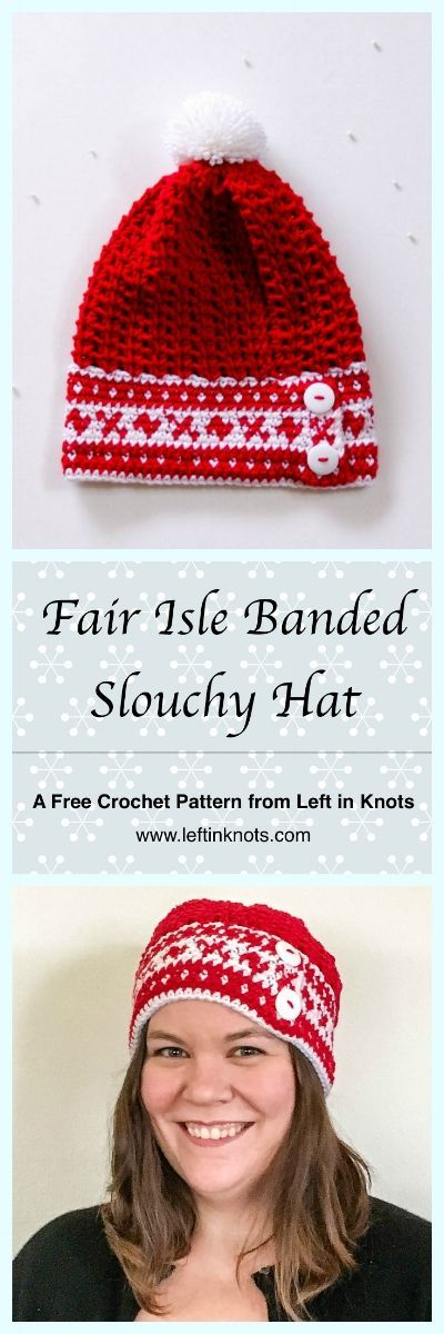 Fair Isle Banded Slouchy Hat - A Free Crochet Pattern | Gorros, Bebe ...