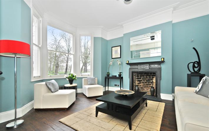 Scarica sfondi 4k, soggiorno, blu, vecchio appartamento, camera ...