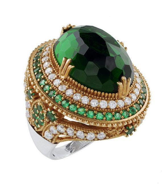 Turkish Ottoman Hurrem Sultan Large oval emerald ring