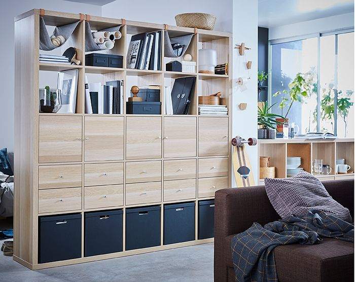 unser ikea kallax regal mit 10 eins tzen eicheneffekt wei lasiert l sst sich als raumteiler mit. Black Bedroom Furniture Sets. Home Design Ideas