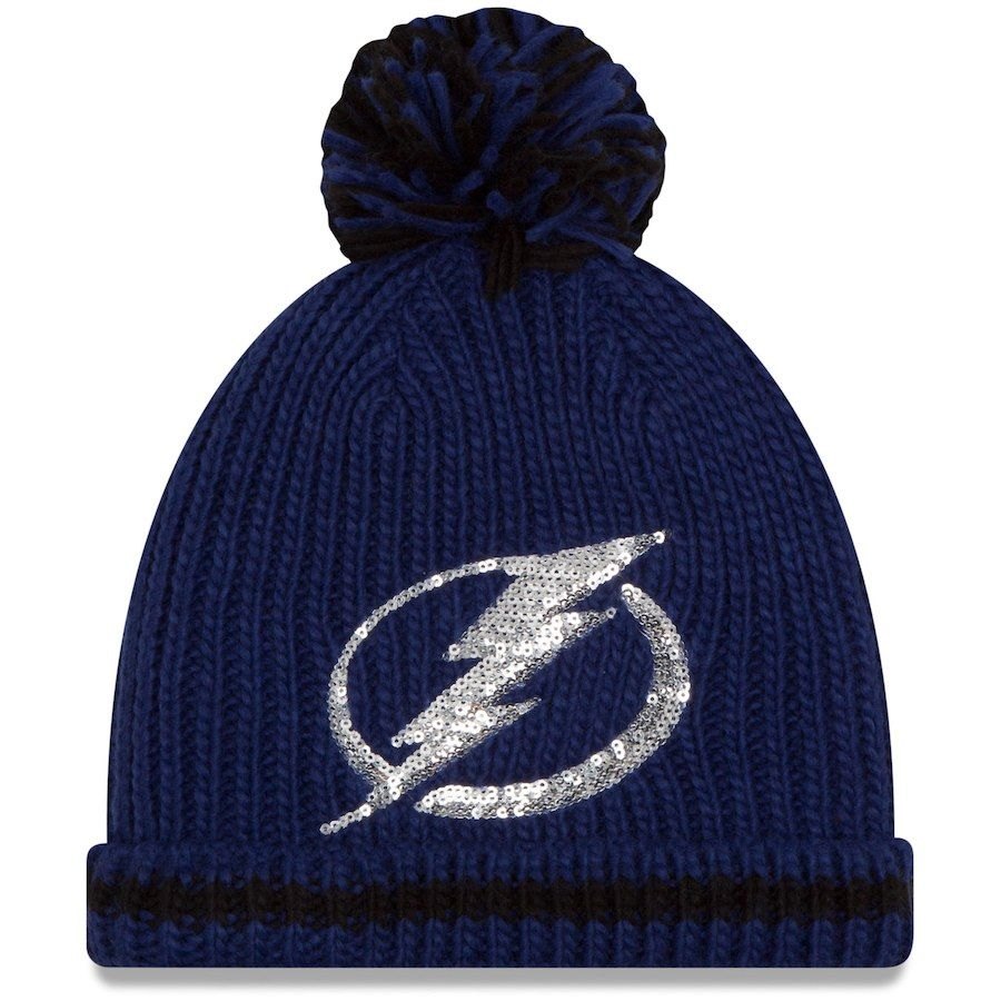 2e9666fc6 Women's Tampa Bay Lightning New Era Blue Sequin Frost Cuffed Knit Hat with  Pom, Your Price: $25.99