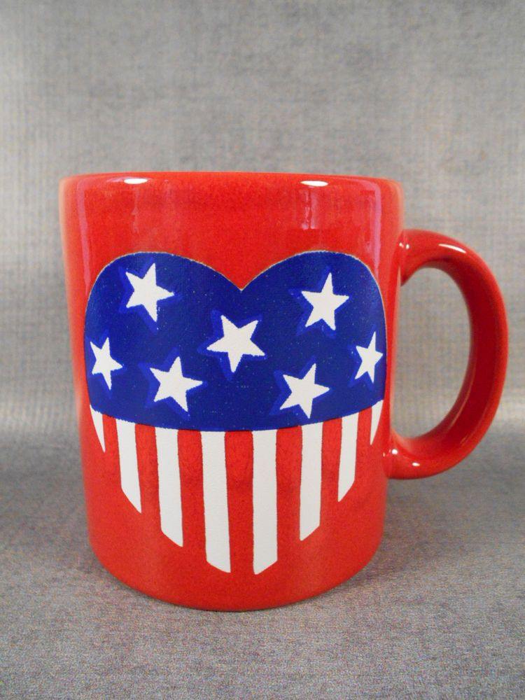 Waechtersbach Patriotic Heart Stars Coffee Mug Cup Red