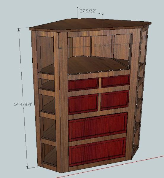 watch 56539 1a536 Initial concept for a corner Dresser/TV Stand for guest room ...