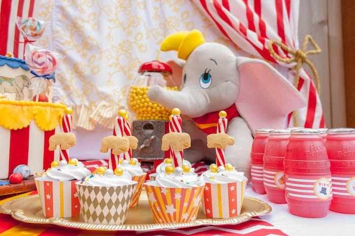 Party cupcakes from Dumbo Circus Birthday Bash at Kara's Party Ideas. See more at karaspartyideas.com!