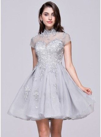 A-Line Princess High Neck Short Mini Organza Prom Dress With Appliques Lace
