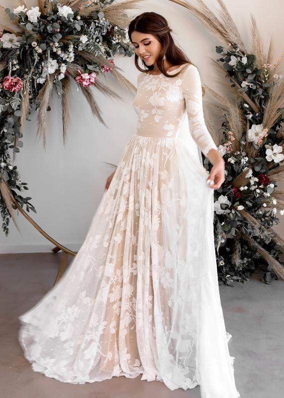 Abiti Da Sposa Western.Long Sleeve Wedding Dress Open Back Wedding Dress Low Back