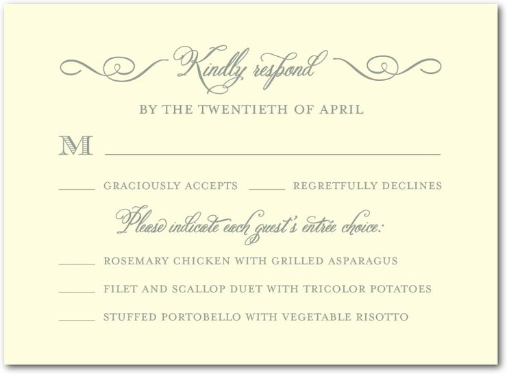 Sample Rsvp With Dinner Choices Wording Wedding
