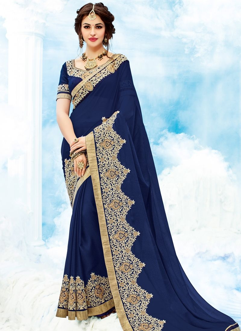 9b80c5c6e3b Shop Dark Blue Georgette Saree Online