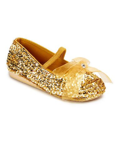 Love this Gold Sequin Bow Flat on #zulily! #zulilyfinds