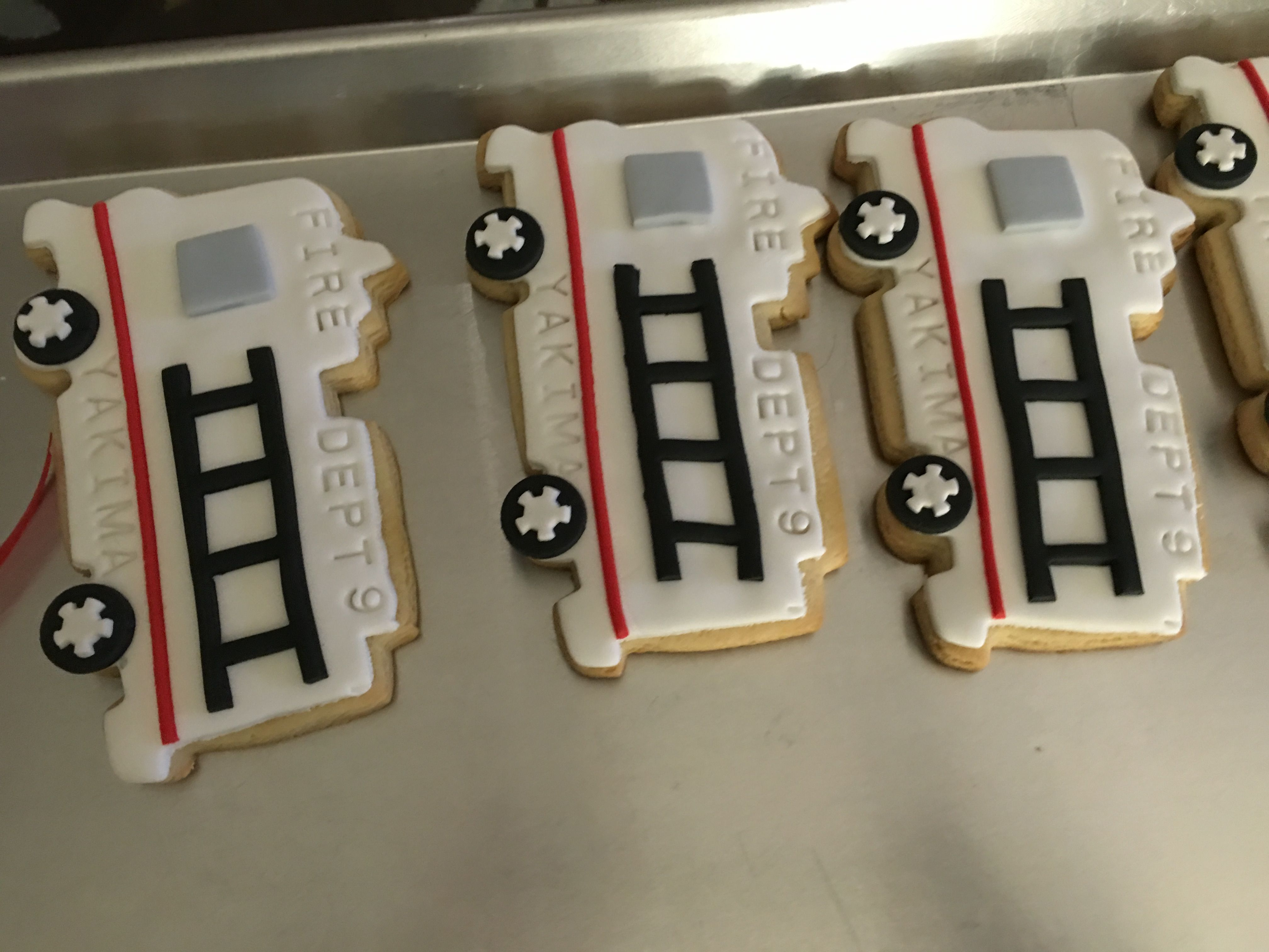 Fire truck cookies for a Fire School Graduation Party