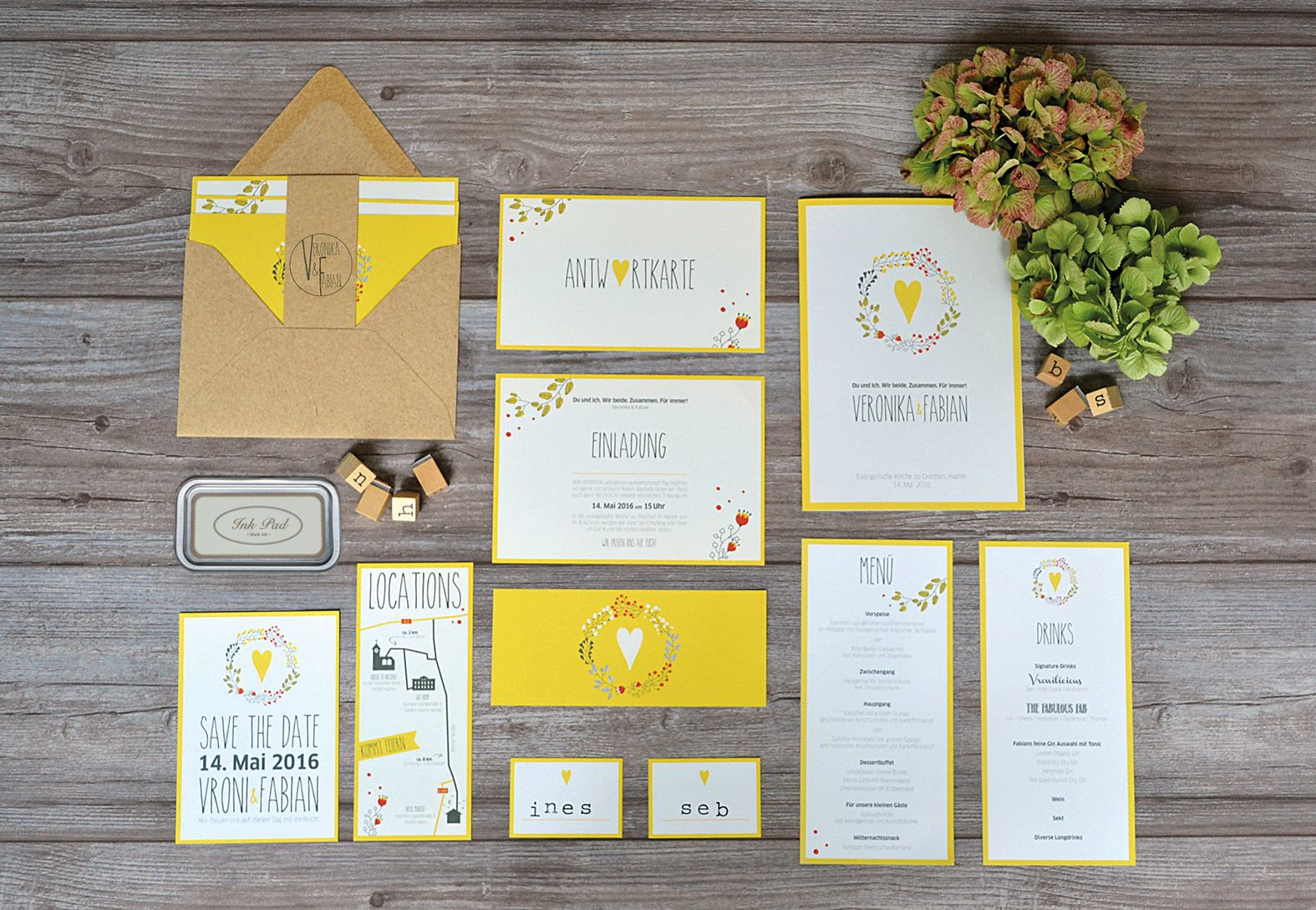 Hochzeitseinladungen Für Scheunenhochzeit, Vintage, Boho, Eine Verspielte  Papeterie In Gelb, Blumen, Kraftpapier, EInladung, Menükarte, Kirchenheft,  ...