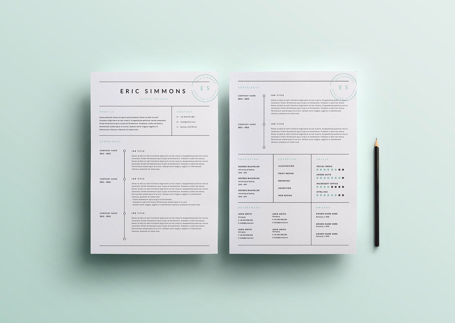 EyeCatching Professional And Beautiful Resume Templates Template