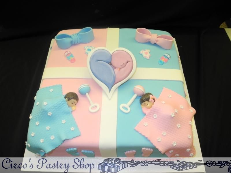 Boy Girl Twins Baby Shower Cake With Images Baby Shower