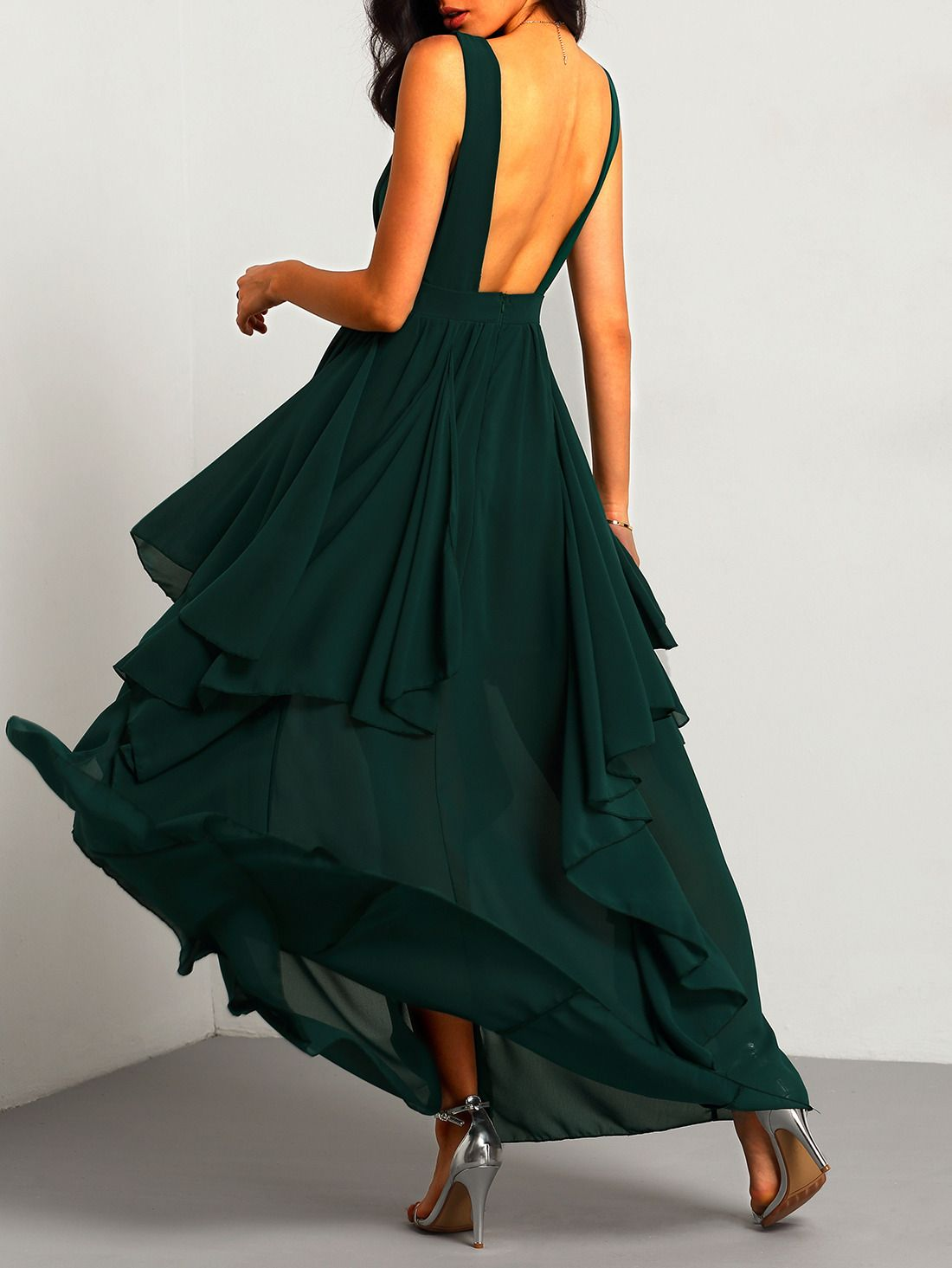Plunging vneckline maxi chiffon dress chiffon dress dress online