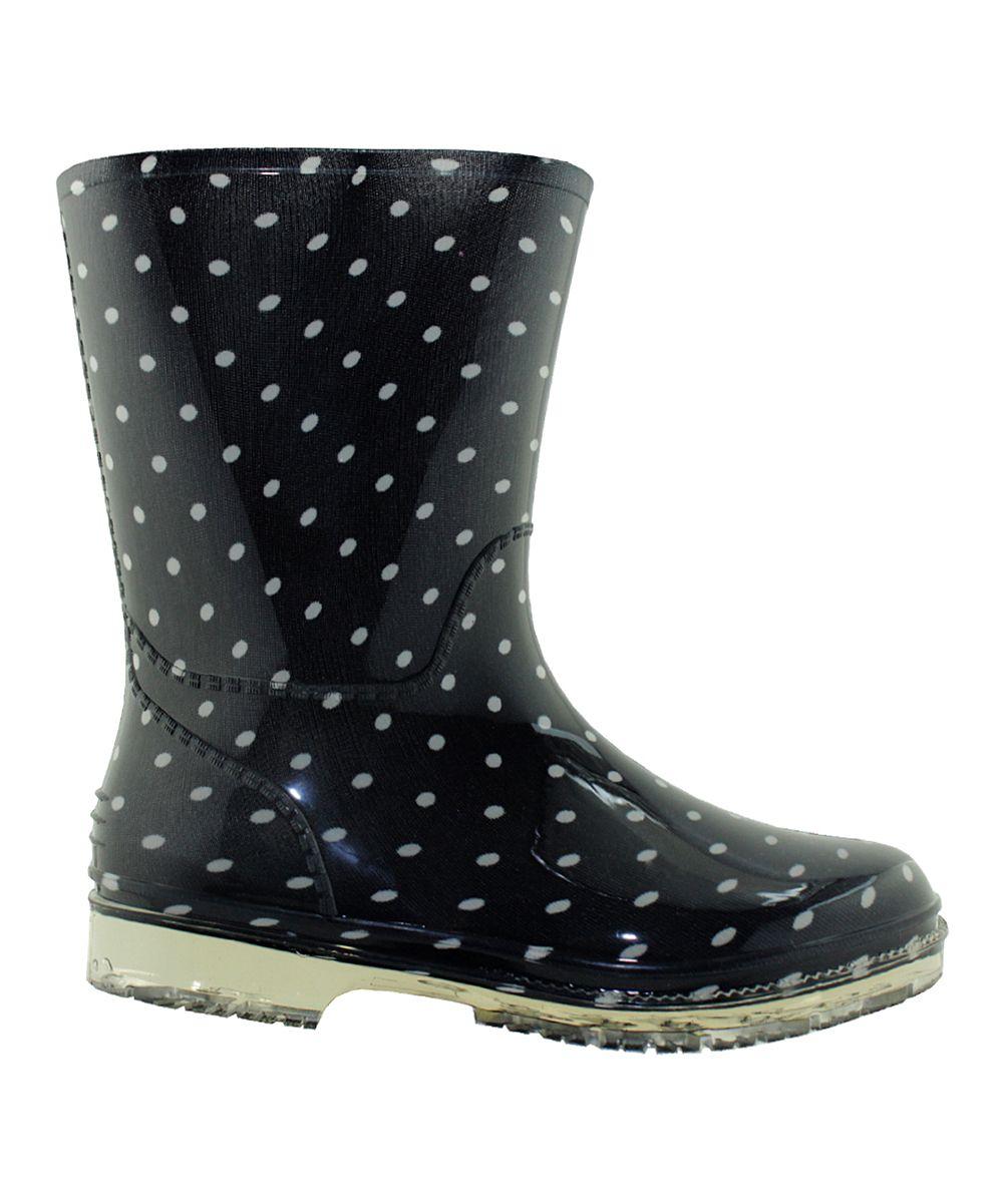 Navy Polka Dots Rain Boot | Polka dot rain boots and Products