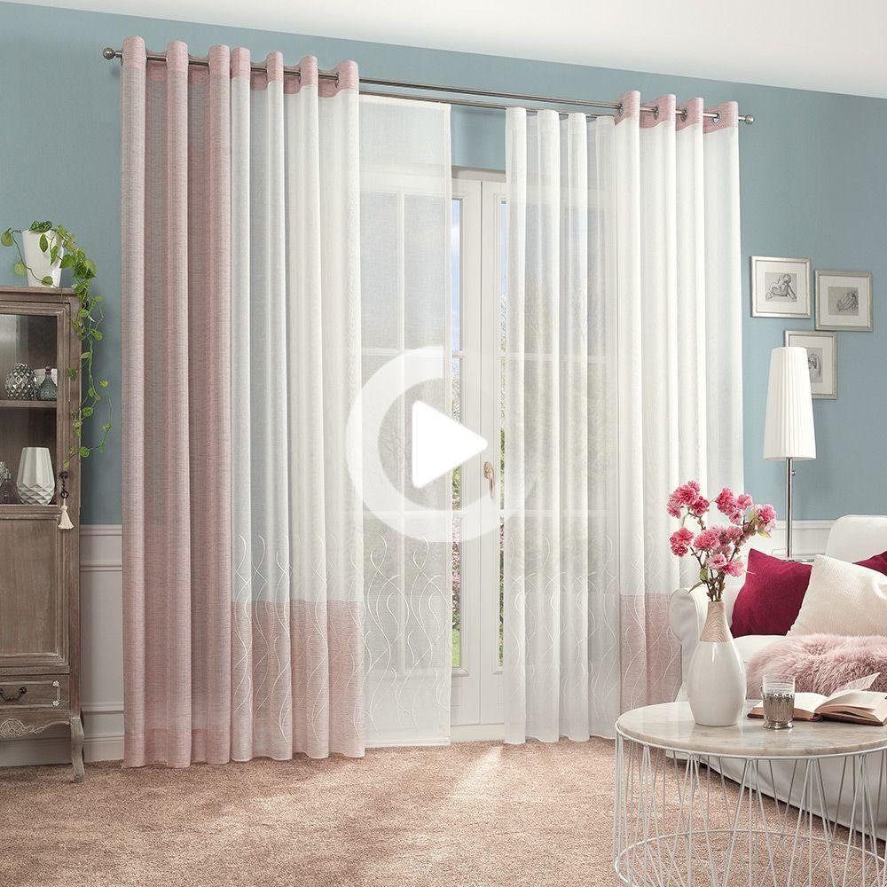 Gardine Fur Ihr Wohnzimmer In 2020 Gardinen Wohnungseinrichtung Wohnzimmer Gardinen Rosa