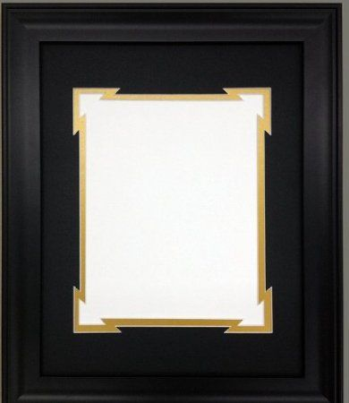 amazoncom 8x10 black frame with black gold double picture mat with decorative - Double 8x10 Frame