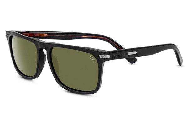 e02d8b30d70dbf Serengeti - Carlo Large Shiny Black Dark Tortoise Sunglasses, Polarized  555nm Lenses