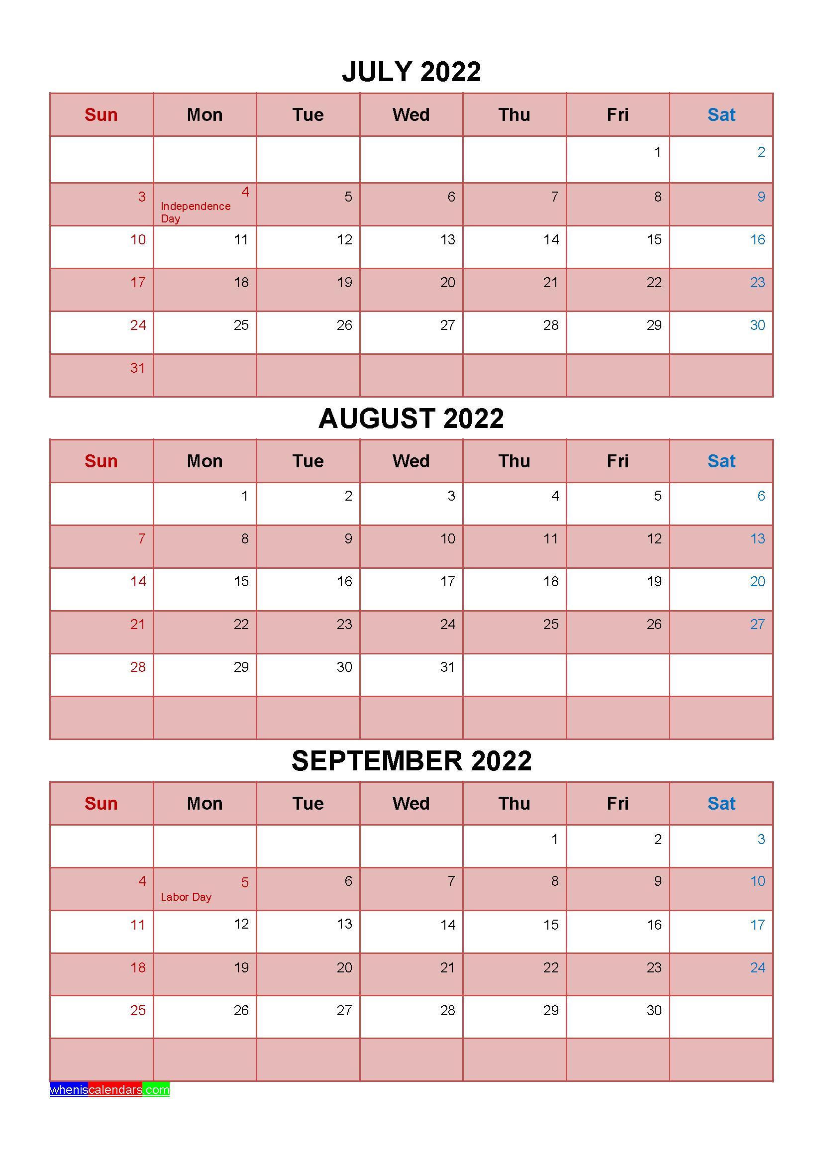 September To December 2022 Calendar.Printable July August September 2022 Calendar With Holidays Four Quarters January February March Holiday Printables Calendar Printables