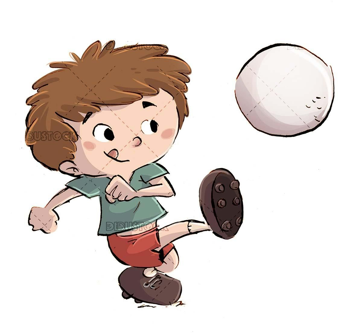 Boy Kicking A Soccer Ball With Isolated Background In 2020 Ball Drawing Boy Illustration Boys