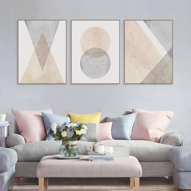 Geometric Wall Art Set Of 3 Pink Grey Wall Art For Living Room