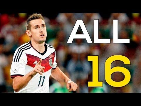 Miroslav Klose All 16 Goals In World Cup Hd Record Youtube History Videos Fifa 2014 World Cup Youtube