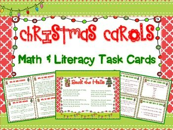 Christmas Song Math and Language Arts Task Cards.  40 CCS Task Cards that accompany popular Christmas Carols (included) to engage your students up to the last minutes before winter break!  $