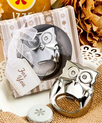 This fabulous owl bottle opener favor A wise owl once said - favors that do double duty as cute mementos and useful kitchen utensils are sure to have your guests wide-eyed and smiling. Available at Lady Slipper Stationery $4.00