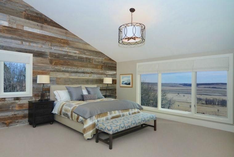Wände mit Holz für Schlafzimmer Haus - wohnzimmer deko wand